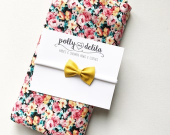 Wild flowers swaddle blanket with yellow leather bow set