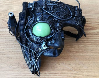Borg star trek cosplay cyberpunk with LED eye mask large,