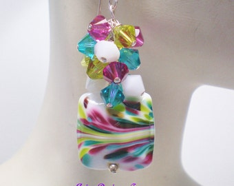 Mardi Gras Colorful Abstract Lampwork Earrings, Lampwork Cluster Earrings in Teal,Fuchsia,White and Lime Green