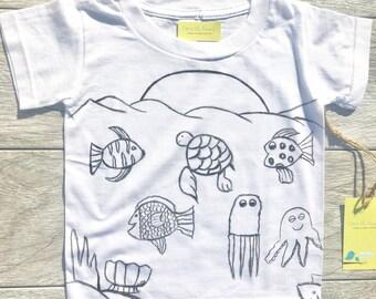 Kids - Fish - Sea Turtle - Sea Shells - Toddler T-Shirt or Baby Onesie