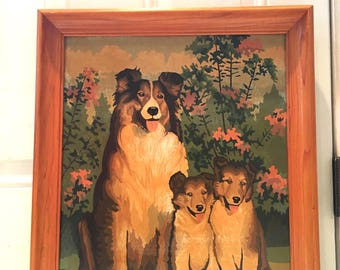 Mid Century Collie and Pups Painting