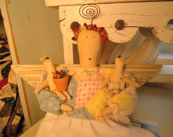 Primitive Handmade Cloth Angel Doll -reclaimed and upcycled Antique Quilt/Vintage Linen Dress