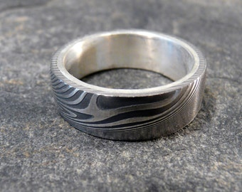 Damascus Stainless Steel Ring With Silver Liner, Wedding Band Hand Made OOAK
