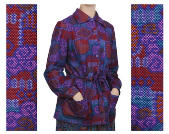 Seashell & Waves Atari Print Long Sleeve Blazer | Pixel Beach Pattern 70s Vintage Belted Jacket