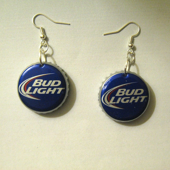 Recycled beer bottle cap earrings budweiser bud light for Can beer bottle caps be recycled
