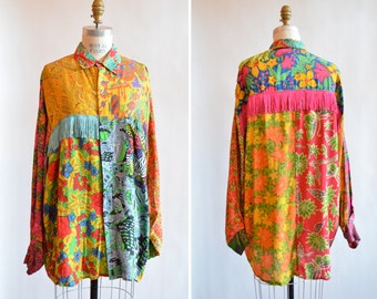Vintage 1980s FRINGED designer blouse