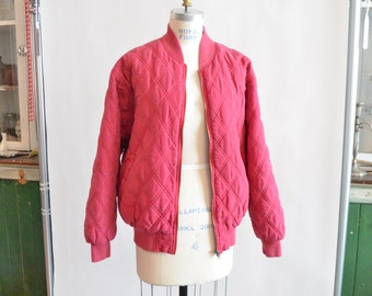 Vintage 1980s quilted SILK bomber