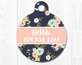 Pet ID Tag Dog ID Tag Dog Tag for Dogs Dog Tags Dog ID Tags Personalized Pet Gifts Pet Tags Pet id Tags for Dog Pink Flower Floral Dog Tag