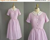 r e s e r v e d....25% off CHRISTMAS SALE... 50s gingham cotton vintage dress. 50s dress /  vintage 1950s dress