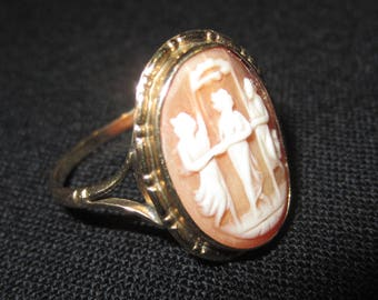 Lovely Antique Cameo Ring of Three Graces in Gold Setting Rare Large Size