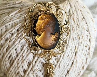Amber Glass Cameo Brooch