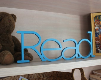 Read Sign, Playroom Decor, Connected Letters,Turquoise Blue, Choice of Color, Library, Bookshelf, Classroom, Teacher, Wood Wall Letter, Kids