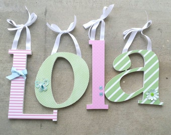 Pink and Green with Baby Blue Custom Wooden Nursery Letters, Baby Girl Nursery Decor with Butterflies and Flowers