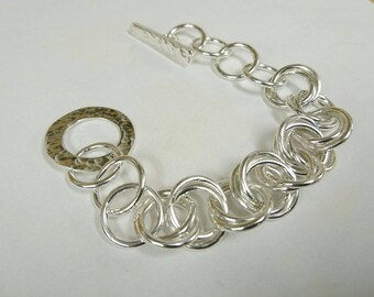 Sterling silver handmade made interlock link bracelet, Hallmarked in Edinburgh