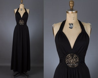 vintage 1970s crochet cut out halter maxi dress