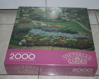 Vintage Springbok Victoria's Garden 2000 Piece Jigsaw Puzzle BRAND NEW Unopened Butchart Gardens, Victoria, British Columbia, Canada