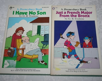 Two 2 Vintage Soft Cover Books A Doonesbury Book Comic Strip Paperback Books 1970s