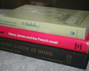 Three 3 Vintage Hard Cover Books, Henry James, Notebooks, French Novel, Henry James At Home 1960s
