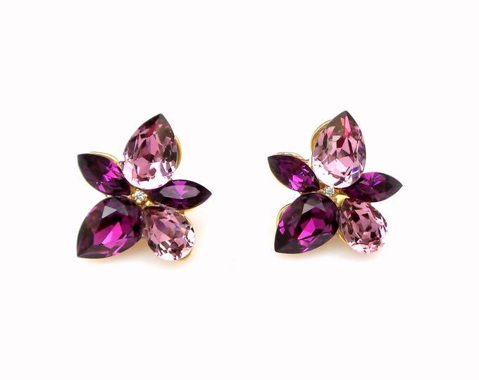 christmas prom bridal wedding bridesmaid gift Swarovski amethyst antique pink multi shape flower crystal rhinestone gold stud post earrings