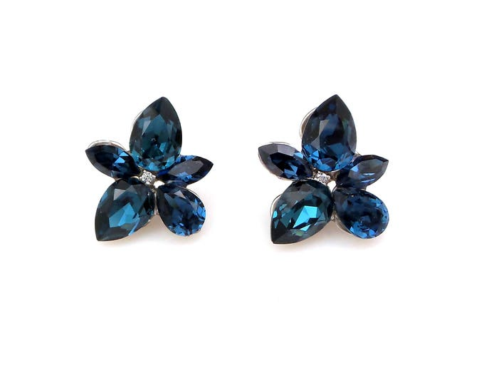 Bridesmaid bridal party wedding prom jewelry swarovski montana navy deep sapphire blue rhinestones multi shape post earrings rhodium stud