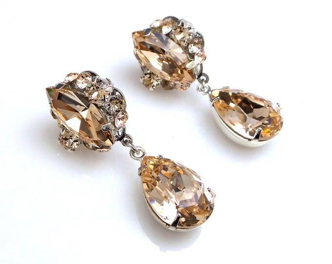christmas prom bridal wedding bridesmaid gift Swarovski silk fancy marquise round cluster crystal rhinestone silver teardrop post earrings