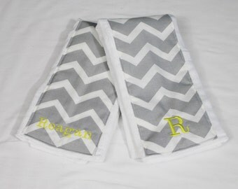 Personalized Grey Chevron and Yellow Baby Burp Cloths - Set of 2 - color can be customized
