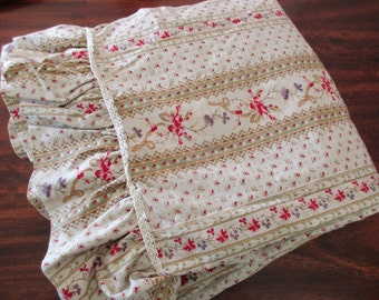 king flat sheet with ruffle - cotton, floral, lace, beige, raspberry