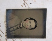 antique miniature GEM tintype photo - woman, late 1800s - gtf09