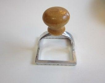 vintage RAVIOLI CRIMPER - square ravioli crimper - aluminum with wood handle - kitchen gadget - pasta crimper