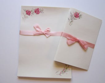 vintage stationary - pink roses with silver leaves - 8 cards, 10 sheets of note paper plus envelopes