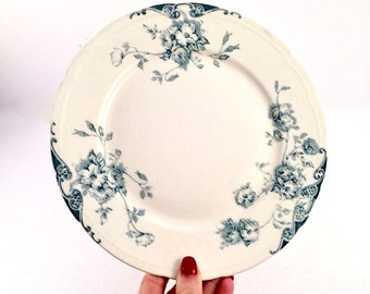 French toile china Plate, Antique French Farmhouse blue and cream Toile plate