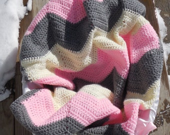 Ripple Crochet Baby Blanket Pink Gray and CreamBaby Blanket Baby Chevron Pink Gray and Cream Stripes