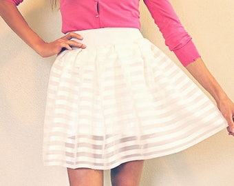 White Striped Chiffon Skirt with stretch lining. Fun Summer Skirt - Made to Order - Free Ship - SUMMER 2017 Wedding Bride Bridesmaid New