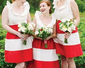 Bright Red Wide Stripes  Bid Striped Skirt Bridesmaids Skirts Striped Skirt - Made to Order