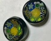 Millefiori Quilt Lampwork Glass Paperweight Studio Button, murrine, murrini