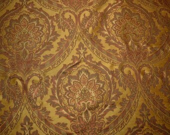 Shiny Metallic Chocolate Brown Paisley Fabric REMNANT 56 inches x 3.75 yards
