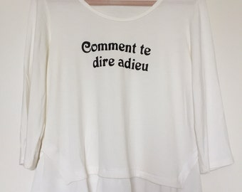 """New """"Comment te dire adieu"""" (English: """"How to Say Goodbye to You"""") Long Sleeve Womens Shirt White Size Medium M"""
