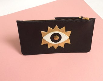 Black leather case, Eye, la lisette, cosmetic case, make up case, pencil case, wallet, leather wallet, eyes