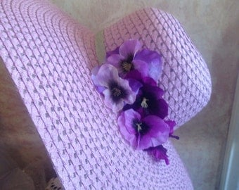 New 2017 design -Womens Lavender Wide Brim Sunhat - Easter or Derby Hat