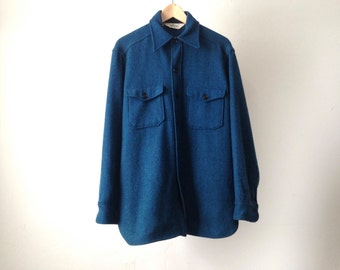 large WOOLRICH style 60s teal navy blue wool FLANNEL thick shirt light jacket