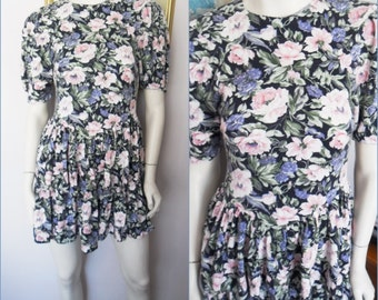 Vtg.80s Blue Pink Lavender Rose Print Ruffle Skirt Mini Dress.Small.Bust 34.Waist 28.