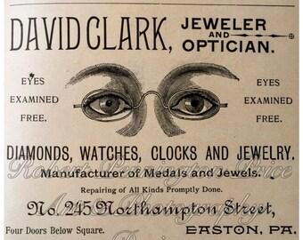 """Jeweler and Optician Advertising Print / Circa 1880's / 8"""" X 8"""""""