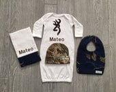 Personalized Navy Blue Camo Baby Boy Real Tree Mossy Oak Home coming Hospital outfit gift set layette hat bib burp cloth