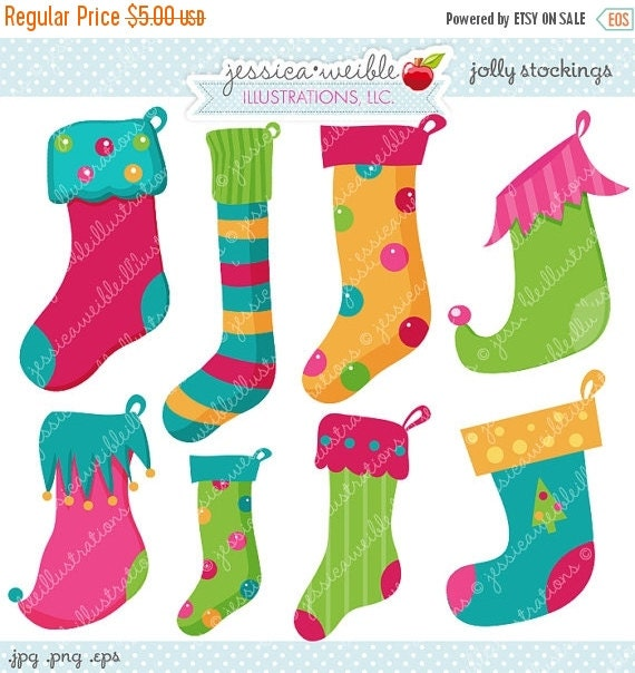 ON SALE Jolly Stockings Cute Digital Clipart - Commercial Use Ok - Christmas Stocking Clipart, Stockings, Christmas Graphics
