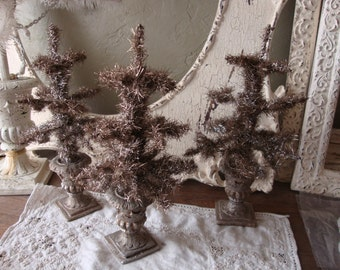 Tinsel trees Christmas table decorations small table top trees in urn silver tinsel vintage style Christmas home decor Cottage Chic