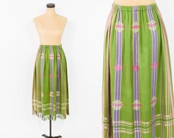 70s Green Skirt | Woven Green & Pink Fringe Midi Skirt | Small