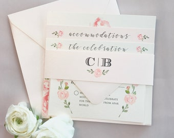 Eva Floral Watercolor Wedding Invitation Suite with Belly Band - Pewter Grey, Blush Pink, Ivory (colors/text customizable)