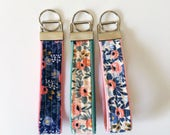 set of rifle paper co keychains, navy rosa key fob, floral keychain, patchwork key fob, small gift under 10, teacher gift, womens key fob