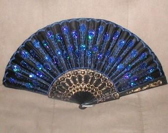 Vintage Black with Cobalt-Blue Beaded Folding Fan