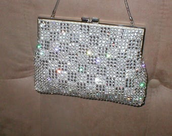 STUNNING Vintage Rhinestone Evening Bag Purse